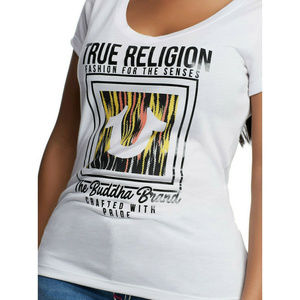 True Religion Women's Round V-Neck Tee T-Shirt